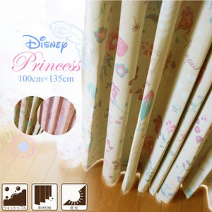 カーテン ドレープカーテン ディズニープリンセス 約100×135cm (2枚組) Disney デ...