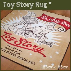 ラグ トイストーリーキャラクター勢ぞろい アンティーク&ウェスタンな雰囲気のラグ カーペット お洗濯OKでいつも清潔 185cm×185cm Toy Story 送料無料|store-pocket