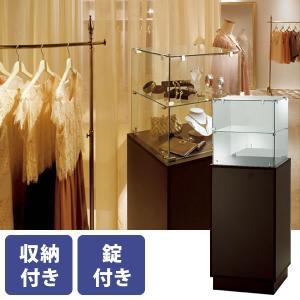 ショーケース ガラスタワー 木製 鍵付き 幅51cm 高さ145cm 透明強化ガラス アジャスター付き|storeplan