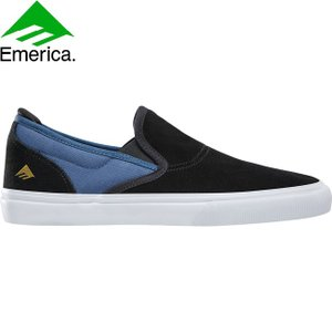 EMERICA WINO G6 SLIP-ON JEREMY LEABRES SKATEBOARD SHOES BLACK BLUE エメリカ スケートボード スケボー シューズ スニーカー ジェレミー・レアブレス 18f|stormy-japan