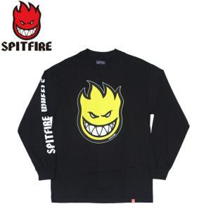SPITFIRE BIGHEAD FILL HOMBRE LS TEE BLACKYELLOW スピットファイヤー ビッグヘッド 長袖 ロングスリーブ Tシャツ ロンT ブラックイエロー 19m|stormy-japan