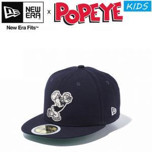 NEW ERA POPEYE Kids 59Fifty Felt Cap 11557923 Navy ニューエラ ポパイ キッズ 子供用 フェルト キャップ 帽子 水兵 ネイビー 18s|stormy-japan