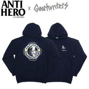 ANTIHERO X GNARHUNTERS AH X GH PULLOVER HOODED SWEAT NAVY アンチヒーロー アンタイヒーロー ナーハンターズ パーカー プルオーバー フードスウェット19f|stormy-japan