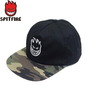 SPITFIRE BIGHEAD SNAPBACK CAP BLACK CAMO WHITE スピットファイヤー ビッグヘッド スナップバック キャップ 帽子 ブラック カモ ホワイト 19s|stormy-japan