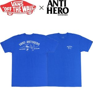 VANS x ANTIHERO ON THE WIRE SHORT SLEEVE T-SHIRT R.BLUE バンズ アンチヒーロー 半袖 Tシャツ ロイヤルブルー 19s|stormy-japan