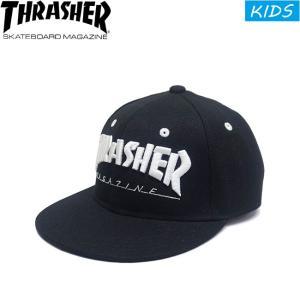 THRASHER KIDS MAGAZINE LOGO SNAPBACK CAP BLACK スラッシャー マガジンロゴ スナップバックキャップ 帽子 キッズ 子供用 ブラック 18m stormy-japan