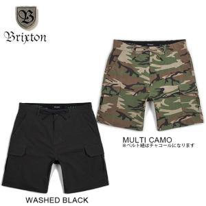 BRIXTON TRANSPORT CARGO SHORT STANDARD FIT WASHED BLACK MULTICAMO ブリクストン カーゴ ショートパンツ 短パン メンズ スタンダードフィット 18s|stormy-japan