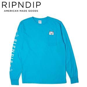RIPNDIP LORD NERMAL POCKET SLEEVE TEE BLUE リップンディップ 長袖 ロングスリーブ ポケット Tシャツ ロンT ブルー 19f stormy-japan