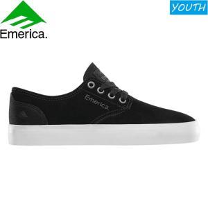 EMERICA LEO ROMERO LACED YOUTH SKATEBOARD SHOES BLACK WHITE GUM エメリカ スケートボード スケボー シューズ スニーカー ユースサイズ 子供 19s|stormy-japan