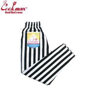 COOKMAN CHEF PANTS WIDE STRIPE BLACK クックマン シェフパンツ イージーパンツ ワイド ストライプ ブラック 19s|stormy-japan