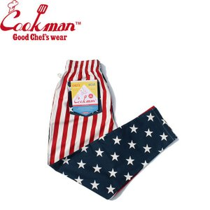 COOKMAN CHEF PANTS CRAZY PATTERN U.S.A. クックマン シェフパンツ イージーパンツ クレージー アメリカ国旗 19m|stormy-japan