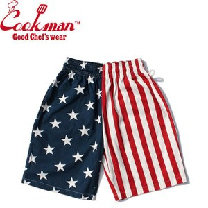 COOKMAN CHEF SHORT PANTS CRAZY PATTERN U.S.A. クックマン シェフショートパンツ ハーフパンツ ショーツ クレージー アメリカ国旗 19m|stormy-japan