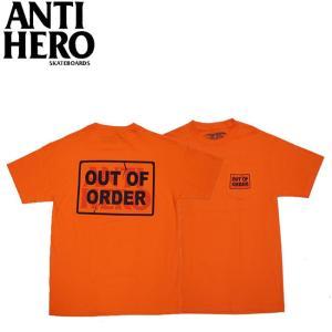 ANTIHERO OUT OF ORDER S S POCKET TEE ORANGE アンチヒーロー 半袖 ポケット Tシャツ アウトオブオーダー オレンジ 19f|stormy-japan
