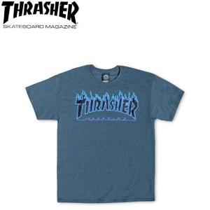 THRASHER FLAME LOGO SS TEE USA DARKHEATHER スラッシャー フレームロゴ 半袖 Tシャツ ダークヘザー 18s|stormy-japan