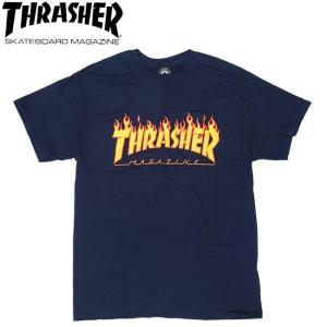 THRASHER FLAME LOGO SS TEE USA NAVY スラッシャー 半袖 Tシャツ ネイビー 18s|stormy-japan