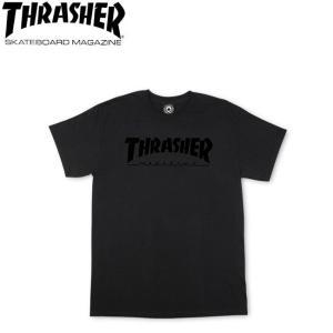 THRASHER MAGAZINE LOGO SS TEE BLACKBLACK スラッシャー 半袖 マガジンロゴ Tシャツ ブラックブラック 18m|stormy-japan