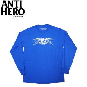 ANTIHERO BASIC EAGLE L S TEE ROYAL WHITE アンチヒーロー 長袖 ロングスリーブ Tシャツ ロンT イーグル ロイヤル ホワイト 19f|stormy-japan