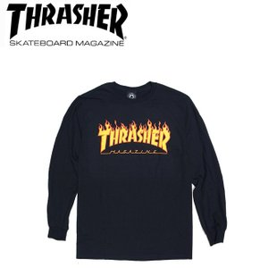 THRASHER FLAME LOGO LONGSLEEVE TEE BLACK スラッシャー 長袖 ロングスリーブ Tシャツ ロンT ブラック 18s|stormy-japan