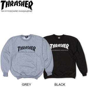 THRASHER SKATE MAG CREWNECK SWEAT BLACK GREY スラッシャー クルーネック スウェット トレーナー ブラック グレー 17f|stormy-japan