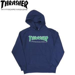 THRASHER OUTLINED PULLOVER HOODSWEAT NAVY スラッシャー プルオーバー フードスウェット パーカー ネイビー 19s|stormy-japan