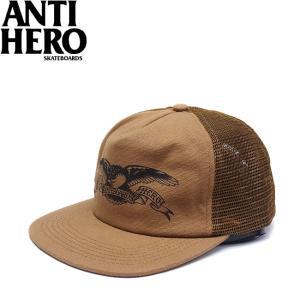 ANTIHERO BASIC EAGLE TRUCKER MESH SNAPBACK CAP BROWN アンチヒーロー ベーシック イーグル メッシュ スナップバック キャップ 帽子 ブラウン 18s|stormy-japan