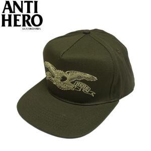 ANTIHERO BASIC EAGLE SNAPBACK CAP OLIVE アンチヒーロー アンタイヒーロー スナップバック キャップ 帽子 ベーシック イーグル オリーブ 19h|stormy-japan
