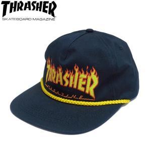 THRASHER FLAME ROPE SNAPBACK CAP NAVY スラッシャー キャップ  帽子 スナップバック ネイビー 20s|stormy-japan
