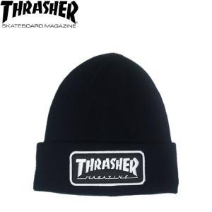 346455f2a90 THRASHER LOGO PATCH BEANIE BLACK スラッシャー ロゴ パッチ ビーニー ニットキャップ ニット帽 ブラック 18f
