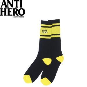 ANTIHERO EAGLES UP SOCK BLACK YELLOW アンチヒーロー スケートボード スケボー クルーソックス 靴下 ブラック イエロー 19m|stormy-japan