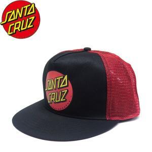 SANTACRUZ Classic Dot Mesh Snapback Cap Black Red サンタクルーズ クラシックドット メッシュ スナップバック キャップ 帽子 ブラック レッド 18m|stormy-japan