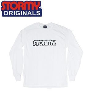 STORMY LOGO LS T-SHIRTS WHITEBLACK ストーミーオリジナル 長袖 ロングスリーブTシャツ ロンT ホワイトブラック 19m|stormy-japan
