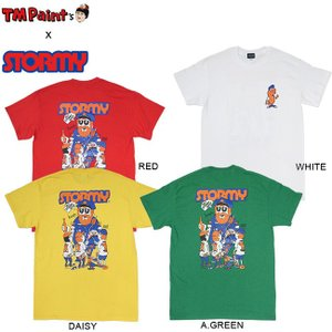 TM Paint x STORMY COLLABO POLICE&BOY SS TEE WHITE RED A.GREEN DAISY TM ストーミー コラボレーション 半袖 Tシャツ 19m|stormy-japan
