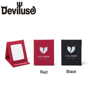 DEVILUSE Heartaches Mirror W9cmxH11cm Black Red デビルユース コンパクトミラー ブラック レッド 18aw|stormy-japan