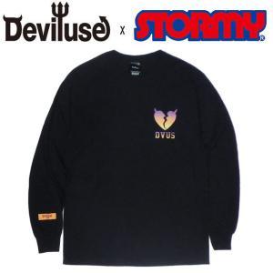 デビルユース DEVILUSE x STORMY tシャツ 長袖 Heart Gradation LS TEE Black 限定 ロングスリーブ ロンT ブラック|stormy-japan