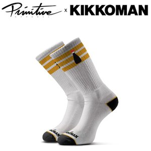 PRIMITIVE x KIKKOMAN RINGER CREW SOCK WHITE プリミティブ キッコーマン ソックス 靴下 メンズ ホワイト 19s|stormy-japan