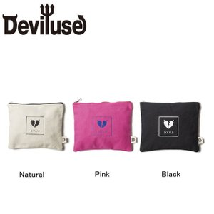 DEVILUSE Heartaches Pouch W18.5cmxH15cm Black Natural Pink デビルユース ヒートアーク ポーチ バッグ ブラック ナチュラル ピンク 18aw|stormy-japan