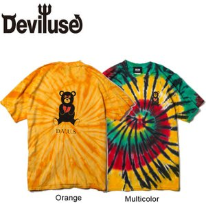 DEVILUSE Bear Jr Tie Dye T-shirts Multicolor Orange デビルユース 半袖 タイダイ Tシャツ マルチカラー オレンジ 19aw|stormy-japan