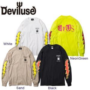DEVILUSE VOLT LS T-shirts Black White Snad NeonGreen デビルユース 長袖 ボルト ロングスリーブ Tシャツ ロンT ブラック ホワイト サンド ネオングリーン19aw|stormy-japan
