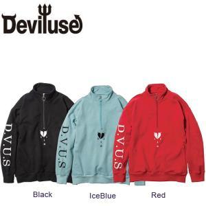 DEVILUSE Hearataches Half Zip Sweat Black IceBlue Red デビルユース ハーフジップ スエット トレーナー ブラック アイスブルー レッド 19aw|stormy-japan