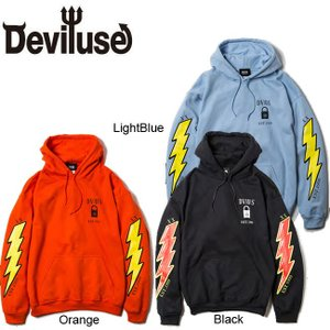 DEVILUSE Volt Pullover Hooded Sweat Black LightBlue Orange デビルユース ボルト プルオーバー フード スエット パーカー 19aw|stormy-japan