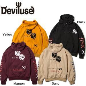 DEVILUSE JINX Pullover Hooded Sweat Black Maroon Sand Yellow デビルユース パーカー プルオーバー フードスウェット ブラック マルーン サンド イエロー19aw|stormy-japan