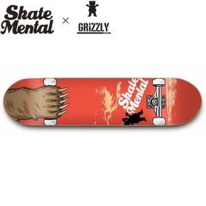 SKATE MENTAL x GRIZZLY MAUL GRAB SKATEBOARD DECK(8.25inch)(スケートメンタル グリズリー コラボ スケートボード スケボー デッキ)17f|stormy-japan