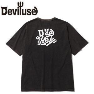 デビルユース DEVILUSE tシャツ Scrap Logo Stone Wash SS Tshirts Black 半袖tシャツ ブラック|stormy-japan
