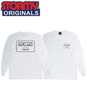 STORMY MARK LOGO LS TSHIRTS WHITEBLACK ストーミーオリジナル 長袖 ロングスリーブTシャツ ロンT ホワイトブラック 19s|stormy-japan