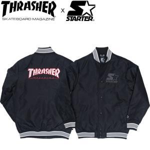 THRASHER x STARTER VARSITY JACKET BLACK スラッシャー スターター ジャケット ブラック 18h|stormy-japan