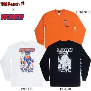 TM Paint x STORMY COLLABO LS TEE BLACK WHITE ORANGE TM ストーミー コラボレーション 長袖 ロングスリーブ Tシャツ ロンT ブラック ホワイト オレンジ 18f|stormy-japan