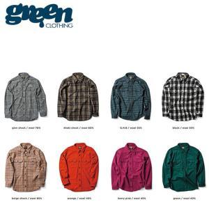 SALE20%OFF GREEN CLOTHING WOOL FLANNEL SHIRTS SNOWBOARD INNER グリーンクロージング 長袖 ウール フランネル シャツ スノーボード インナー スノボー 18f|stormy-japan