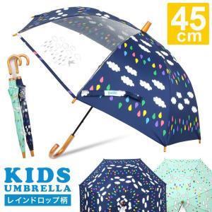 傘 キッズ 透明窓付 レインドロップ柄 長傘 雨傘 かわいい 子供傘 story-web