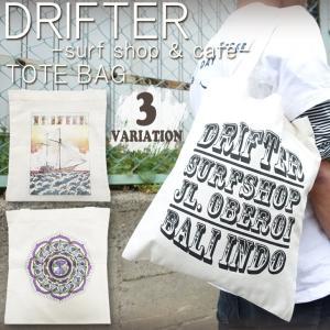 DRIFTER surf shop & cafe ドリフター サーフショップアンドカフェ ロブ・マチャド アートトートバッグ サーフィン Rob Machado ART TOTE|stradiy