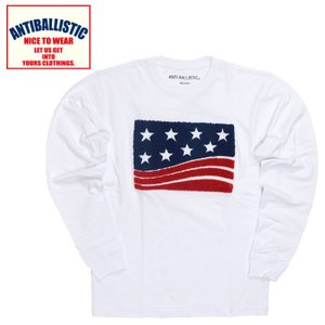 アンティバルリスティック ロングスリーブTシャツ メンズ USA 星条旗 刺繍 白色 ホワイト 綿100%|streetbros